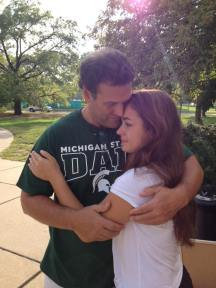 """Included this embarrassing but sweet picture with my dad as my parents left. & yes he did wear the obnoxious """"Michigan State Dad"""" t-shirt I got him which I thought was super funny."""